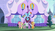 Main 5 and Spike waving goodbye to Rarity S5E14