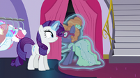 Rarity levitates Nerdy Delegate back out S5E14