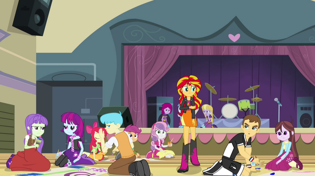 File:Students gossip about Sunset Shimmer EG2.png