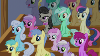 Audience of ponies laughing at Apple Bloom S6E4