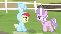 Diamond Tiara finds Apple Bloom in a bunny costume S2E12