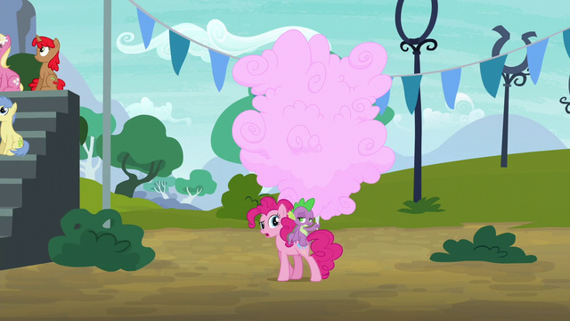 File:Pinkie, Spike, and giant cotton candy S6E7.png
