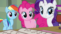 RD, Pinkie, and Rarity smiling at Twilight S4E25