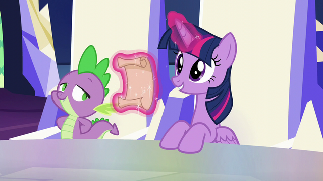 File:Twilight levitating a scroll about to tell some news S5E19.png