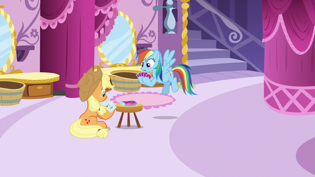File:Applejack and Rainbow play a card game S5E7.png