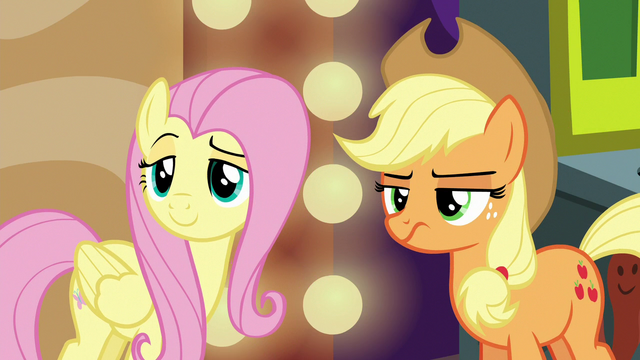 File:Fluttershy coy and Applejack sneering S6E20.png