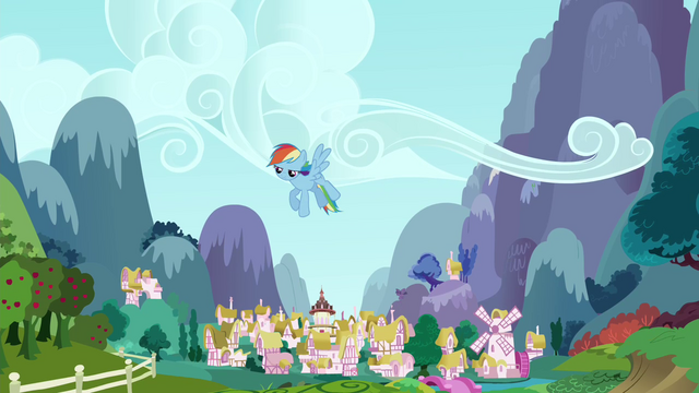File:Rainbow Dash sulking in the sky S4E21.png