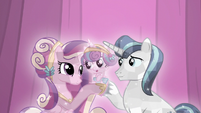 Shining Armor and Cadance with their baby S6E2