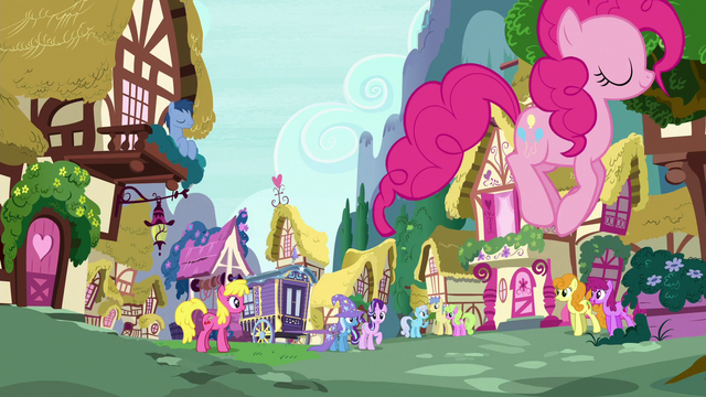 File:Pinkie Changeling hopping through town S6E25.png