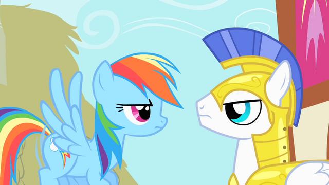 File:Rainbow Dash staring at Royal Guard S1E22.png