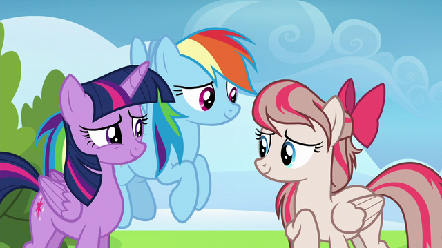 File:Twilight and Rainbow flattered by Angel Wings S6E24.png