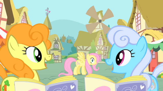 File:Golden Harvest and Shoeshine noticing Fluttershy S1E20.png