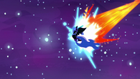 Nightmare Moon blasted by Daybreaker's magic S7E10