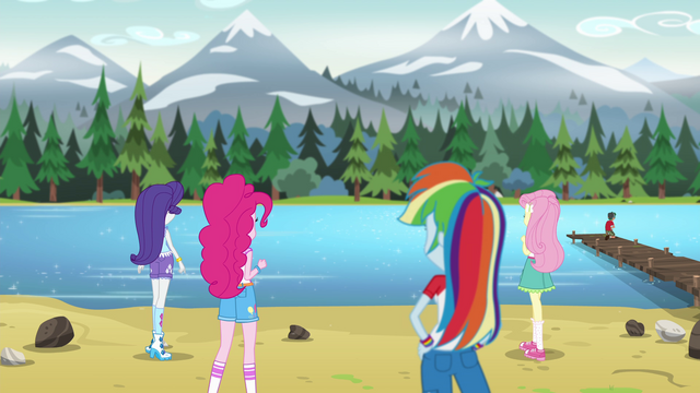 File:Rarity, Pinkie, Rainbow, Fluttershy gazing at the water EG4.png