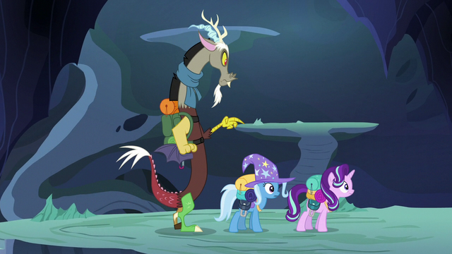 File:Starlight, Trixie, and Discord hear Thorax ahead S6E25.png
