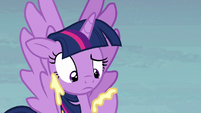 Twilight's hoof covered in cupcake icing S5E23