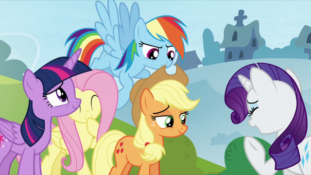 File:Twilight and AJ smiling; Fluttershy giggling; Rarity laughing; Rainbow looking serious S5E26.png