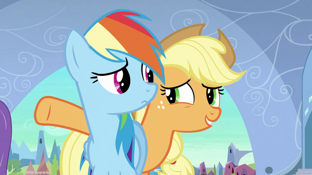 File:Applejack 'Let me keep the Crystal Ponies away from the fake heart' S3E2.png