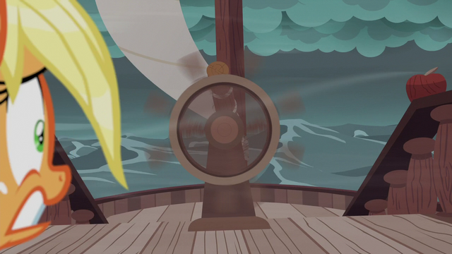 File:Applejack looks at spinning steering wheel S6E22.png