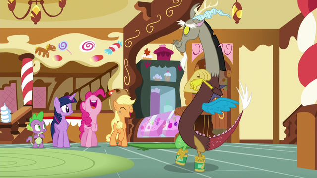 File:Spike and Twilight sees Pinkie and AJ laughing at Discord's little performance S5E22.png