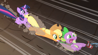 Twilight, Applejack, and Spike sliding S01E19