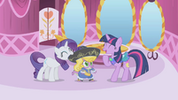 Twilight laughing at Spike's outfit S01E03