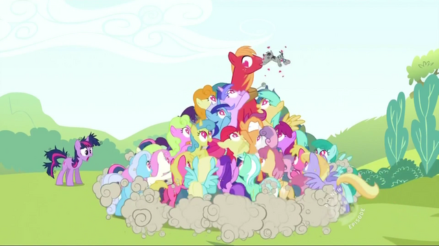 File:Big McIntosh getting swarmed by ponies S2E3.png