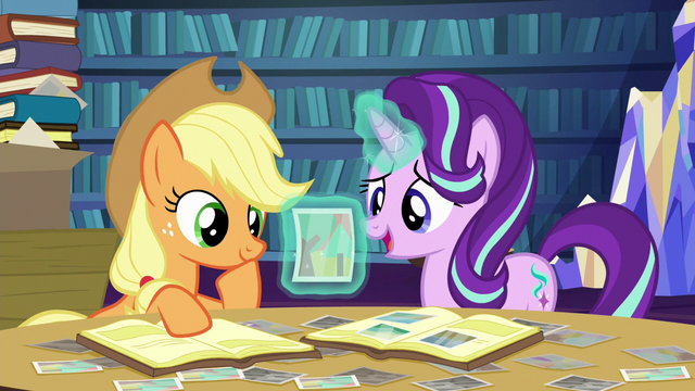 File:Starlight asks Applejack about a photograph S6E21.png