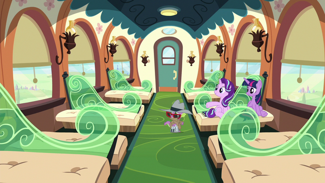 File:Twilight, Starlight, and Spike in an empty train car S6E16.png