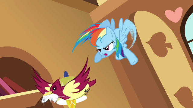 File:Rainbow Dash chasing bird S03E13.png