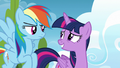 Rainbow Dash uncertain; Twilight Sparkle embarrassed S6E24.png