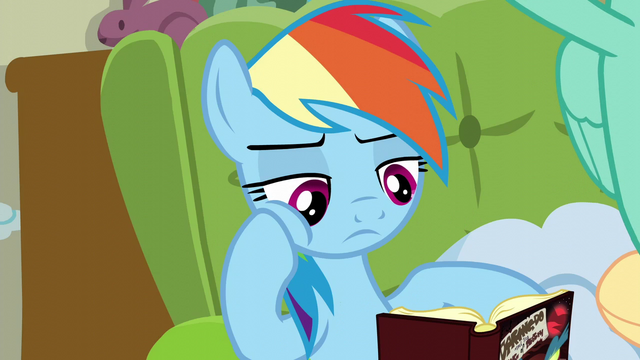 File:Rainbow reading a Daring Do book S6E11.png