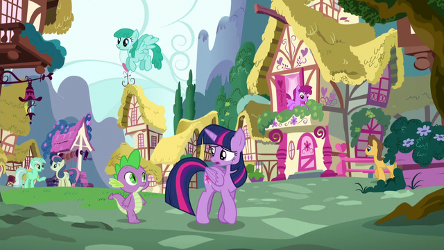 File:Twilight and Spike walking around town S5E22.png