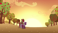 Cheerilee and Big Mac watching sunset S02E17