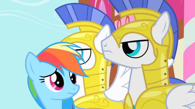 File:Rainbow Dash looking at Royal Guards S1E22.png