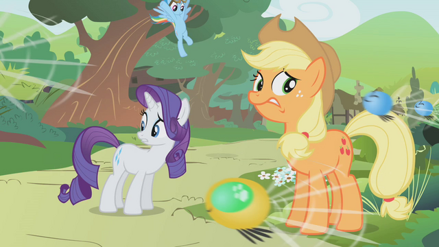 File:Rainbow about to land behind Rarity and Applejack S01E10.png