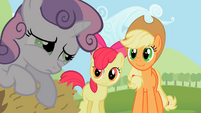 Applejack smiling with Apple Bloom S2E5
