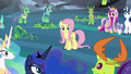 Fluttershy suddenly the center of attention S6E26.png