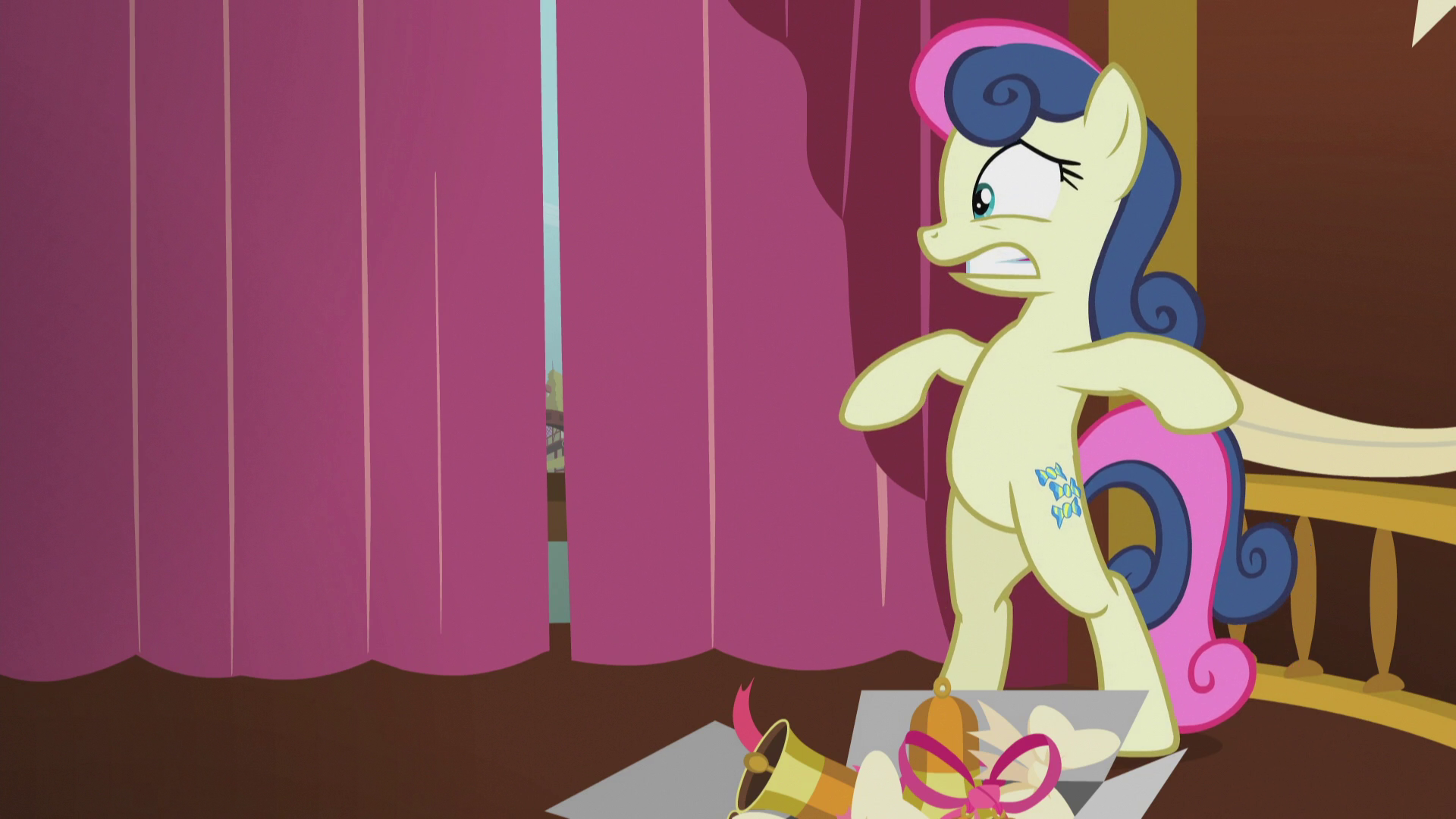 Image   Bon Bon Hiding By The Curtains S5E9.png | My Little Pony Friendship  Is Magic Wiki | FANDOM Powered By Wikia