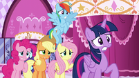 "Rarity's friends looking nervous; Fluttershy ""But—"" S6E9"