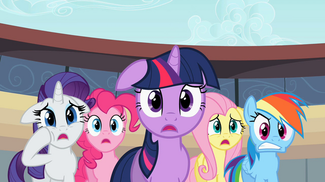 File:Rarity, Pinkie, Twilight, Fluttershy, Rainbow - you kidding?.S02E14.png