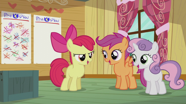 "File:CMC sings together ""Cause the Cutie Mark Crusaders don't give in"" S5E18.png"