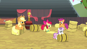 Cutie Mark Crusaders cleaning the rodeo grounds S5E6.png