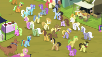Fluttershy and RD blocked by rows of ponies S4E22