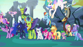 Ponies, changelings, Spike, and Discord opposing Chrysalis S6E26.png