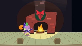 Spike next to fireplace S2E11.png