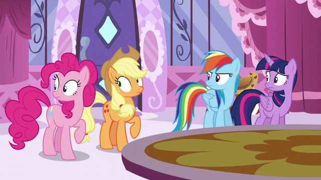 File:Main ponies looking at Fluttershy S6E9.png