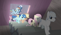 Mane Six and village ponies enter Starlight's secret passage S5E2.png