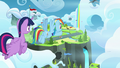 Twilight and Rainbow fly to Wonderbolt Academy S6E24.png