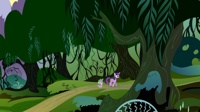 File:Twilight and Spike walking into the Everfree Forest S4E03.png